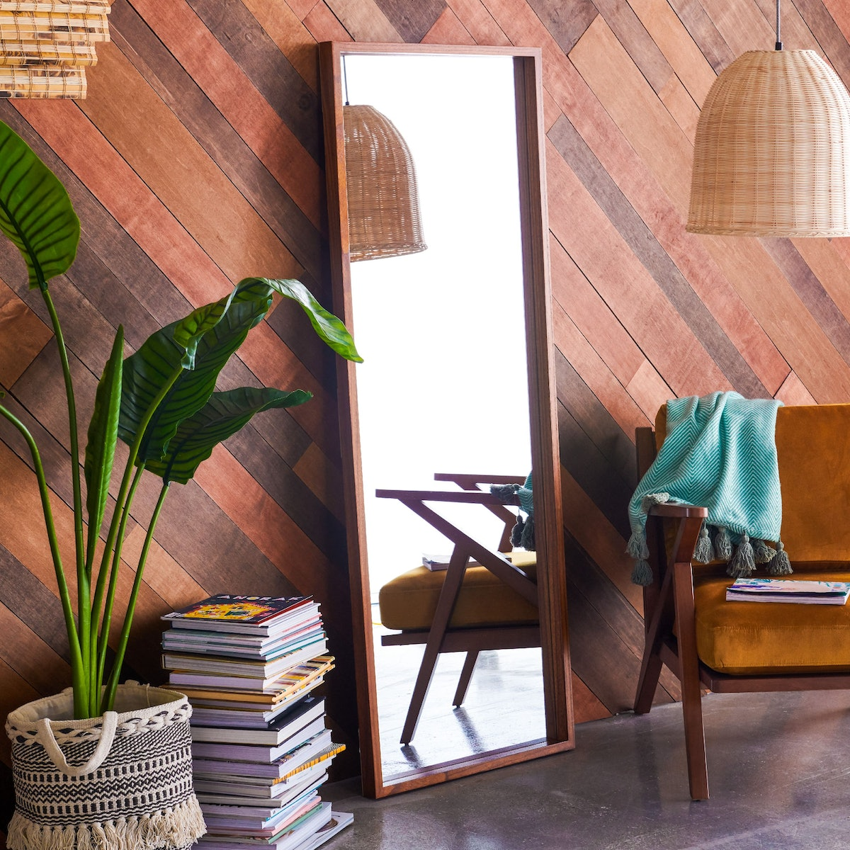 Wood Rectangle Leaner Mirror