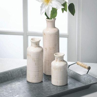 Sullivans Modern Farmhouse Ceramic Vases (Set of 3)