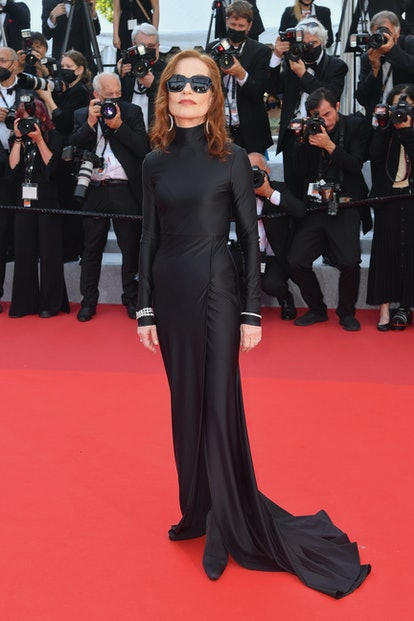 """Isabelle Huppert attends the """"Tout S'est Bien Passe (Everything Went Fine)"""" screening during the 74th annual Cannes Film Festival on July 07, 2021 in Cannes, France."""