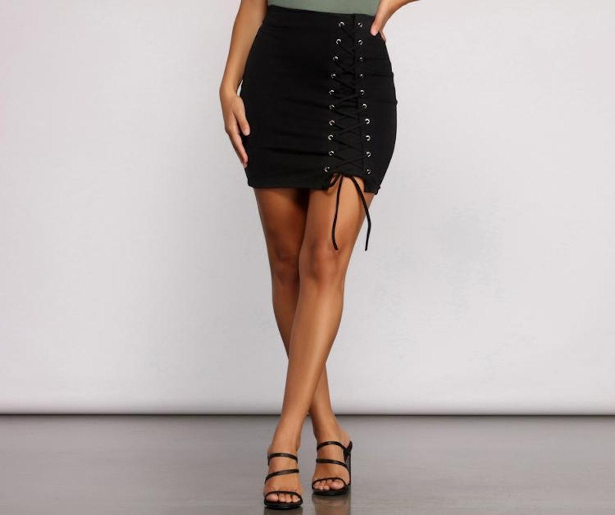 Lovin' The Look Lace Up Mini Skirt