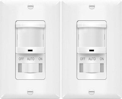 TOPGREENER In-Wall PIR Motion Sensor Light Switch (2-Pack)