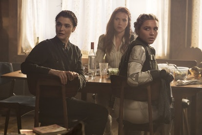 (L-R): Rachel Weisz, Scarlett Johansson, and Florence Pugh in Marvel Studios' BLACK WIDOW. Photo courtesy of Jay Maidment and Marvel Studios.