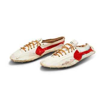 """""""Prototype Logo"""" track spikes handmade by Nike co-founder Bill Bowerman for Canadian Track and Field..."""