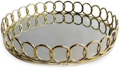 American Atelier Looped Round Decorative Mirror Tray