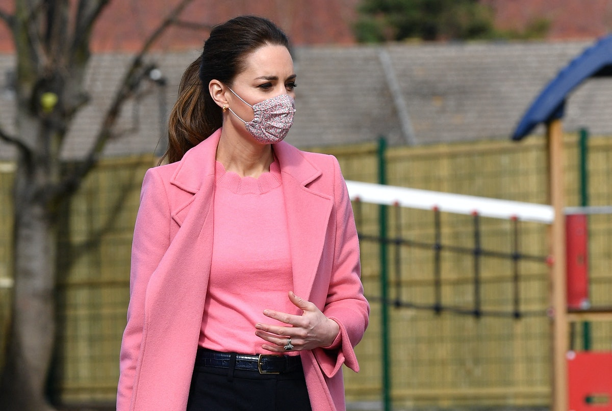 Britain's Catherine, Duchess of Cambridge gestures during a visit to School21 following its re-openi...