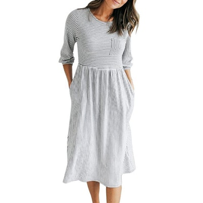 MEROKEETY 3/4 Sleeve Midi Dress