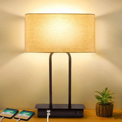 BesLowe 3-Way Dimmable Touch Control Table Lamp With 2 USB Ports & AC Power Outlet