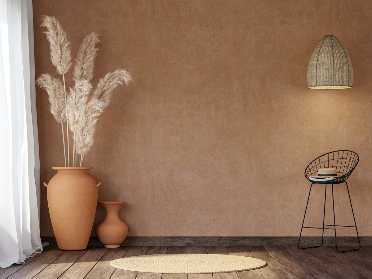 Terracotta is a warm shade for your bedroom walls.