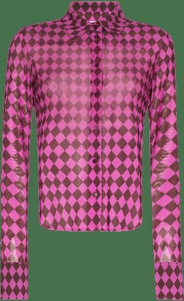 Argyle Print Buttoned Shirt