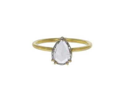 Tura Sugden Pear Rose Cut White Diamond Solitaire