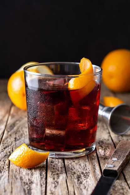 A Boulevardier makes for a simple, three-ingredient cocktail to make at home.