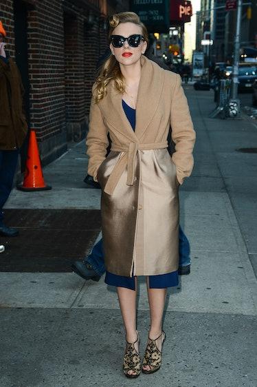Scarlett Johansson in coat.