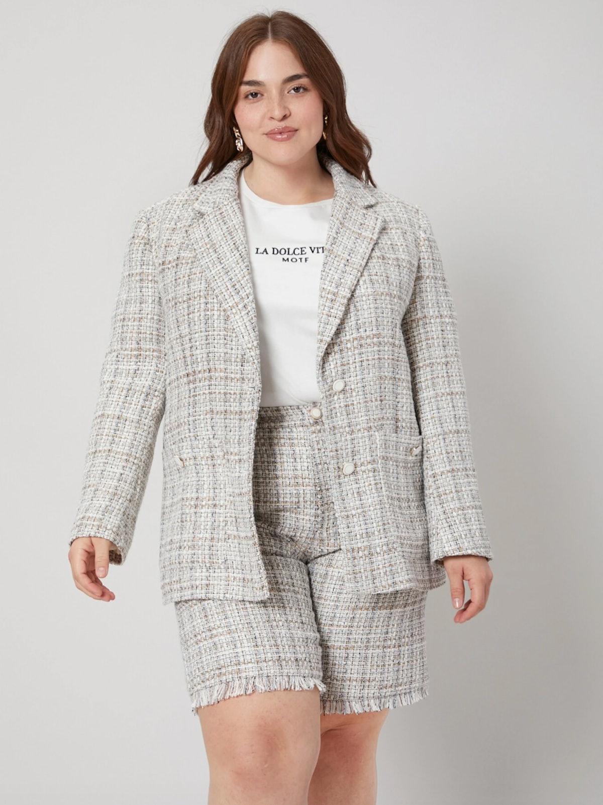 MOTF Premium Plus Structured Tweed Blazer