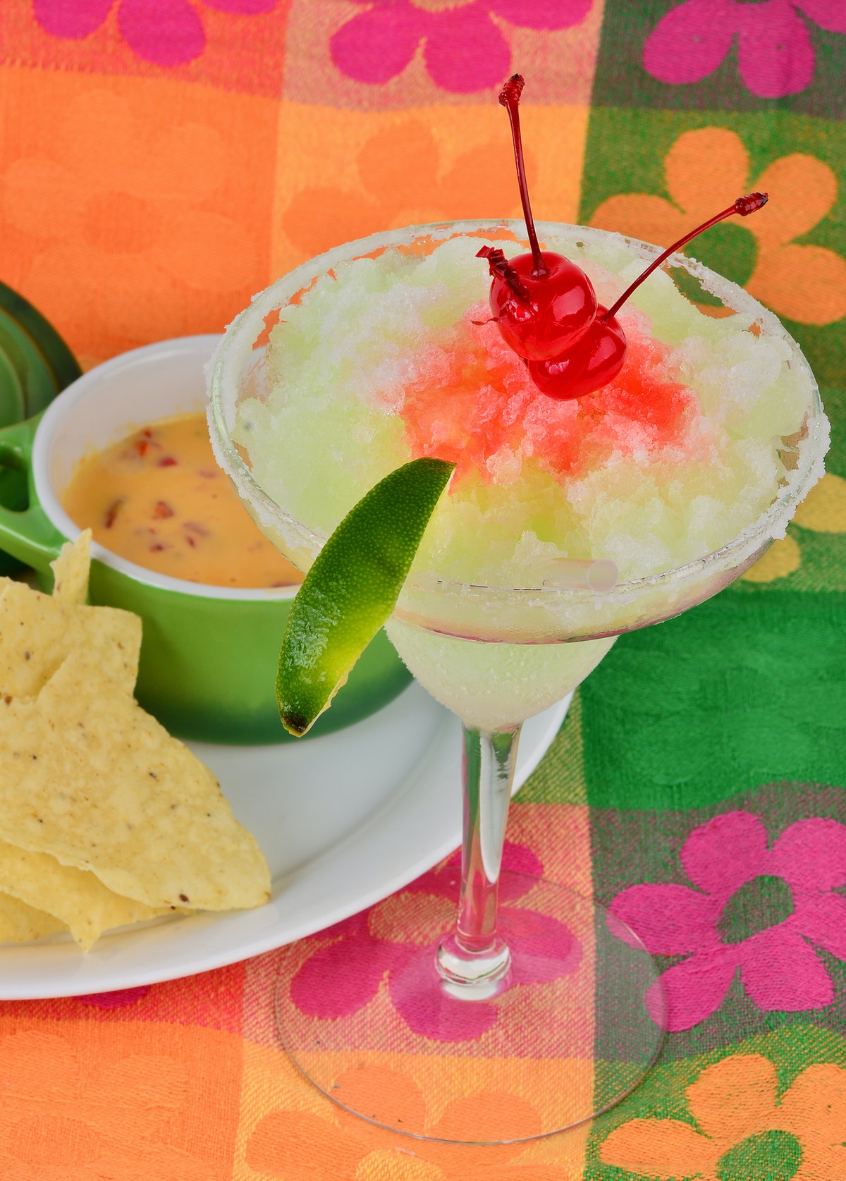 A margarita and queso makes a great cocktail and cheese pairing.