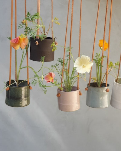 Hanging Planter With Leather Straps