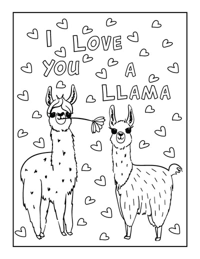 a kids coloring page featuring two llamas surrounded by drawn hearts and the words, I love you a lla...