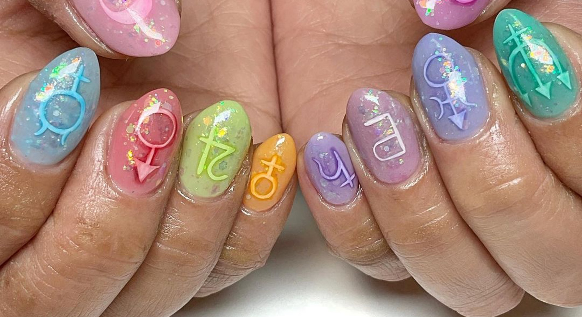 rainbow jelly nails with astrological signs