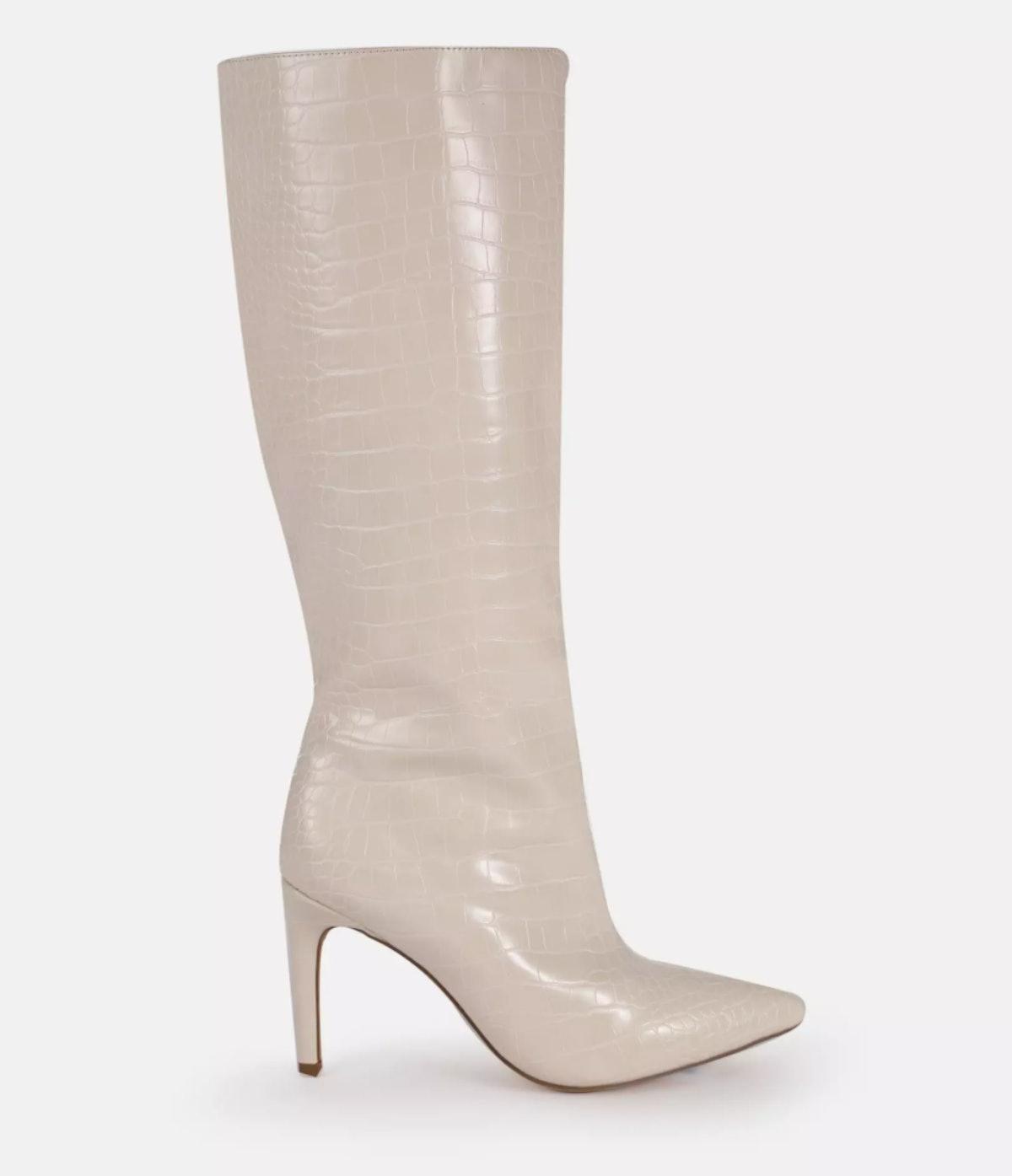 Cream Mock Croc Tubular Calf Stiletto Boots