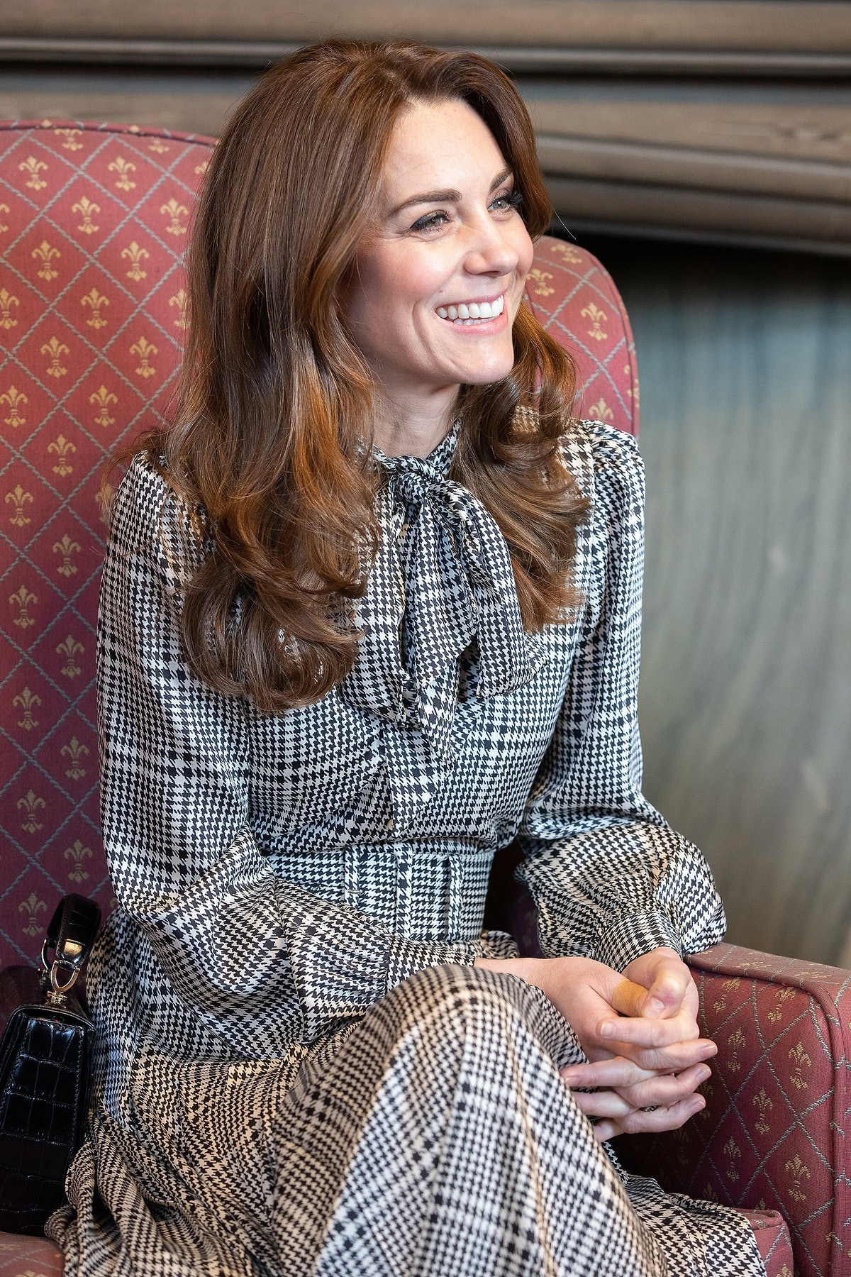 Catherine, Duchess of Cambridge speaks to young people and employers at Bradford Town Hall on Janua...