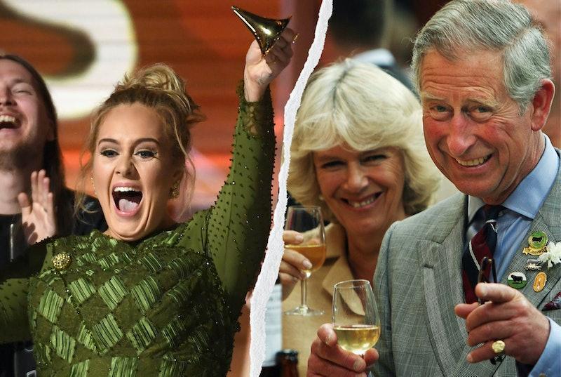 Adele and Prince Charles celebrating