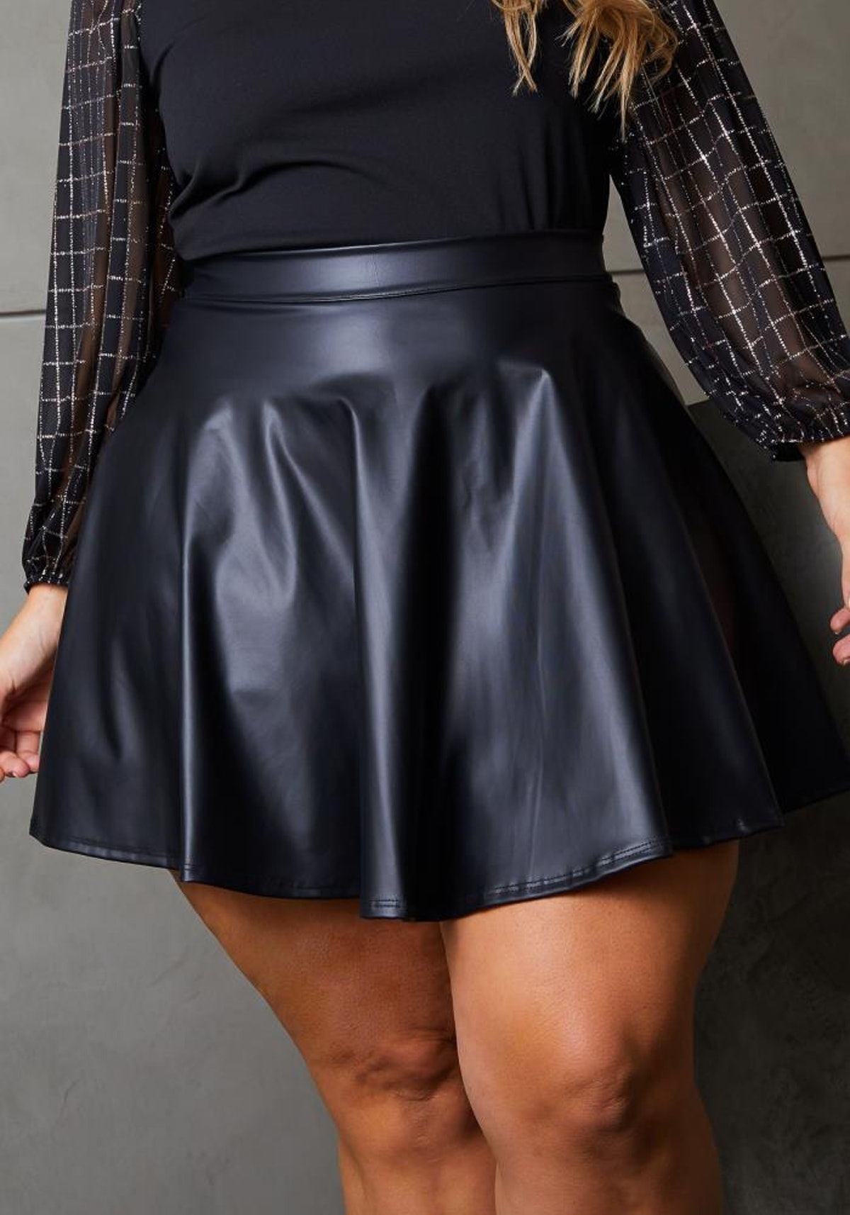 Plus Size Faux Leather High Waisted Mini Circle Skirt
