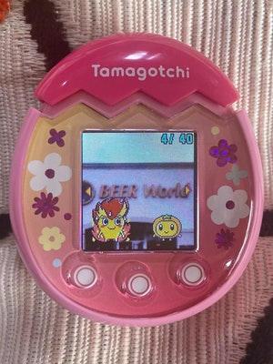Two Tamagotchi characters are pictured standing in front of a store sign that reads: Beer World