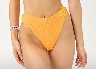 Claire Terry High Waist Bikini Bottom In Checkmate