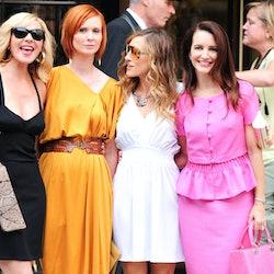 Kim Cattrall, Cynthia Nixon, Sarah Jessica Parker, and Kristen Davis pose for photos on location at ...