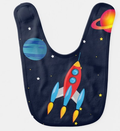 Retro Rocket & Planets in Outer Space Bib