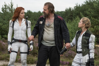 Johansson, Harbour, and Pugh in Black Widow
