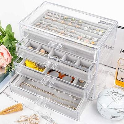 Mebbay Acrylic And Velvet Jewelry Box (4 Drawers)