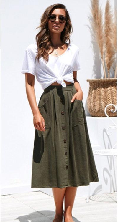 Naggoo Pleated Midi Skirt