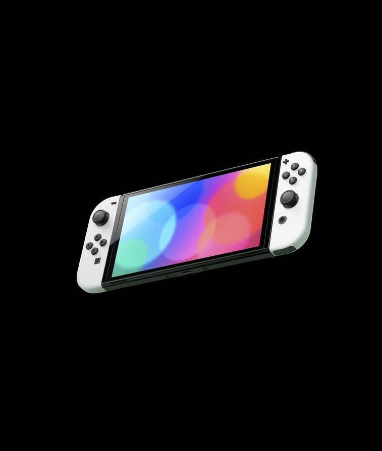 Nintendo Switch (OLED model) video game console. Gaming. Video games. Hardware.