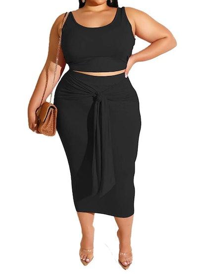 IyMoo Plus Size Midi Dress (2 Piece)