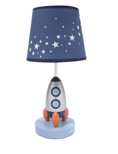 Milky Way Blue/Silver Rocket Ship Nursery Lamp with Shade & Bulb