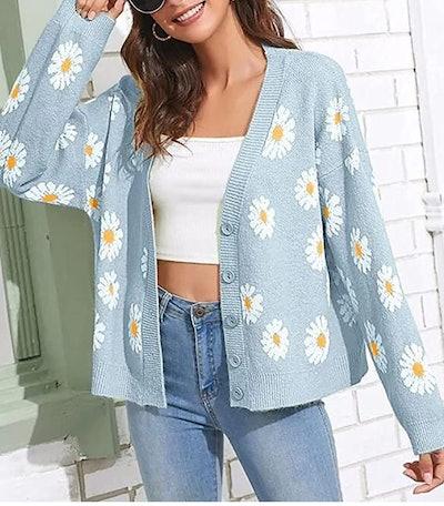 Meladyan Flower Sweater Cardigan