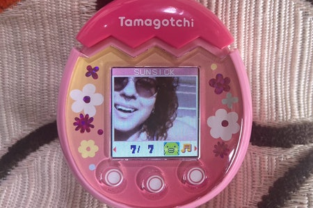 A closeup of the author's face is pictured as captured by Tamagotchi Pix