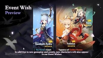 Genshin Impact Version 2.0 Ayaka Sayu Yoimiya Banners