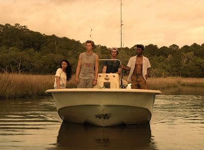 'Outer Banks' Season 1 cast on a boat.