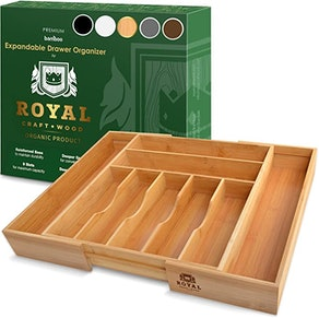 Royal Craft Wood Expandable Bamboo Silverware Tray