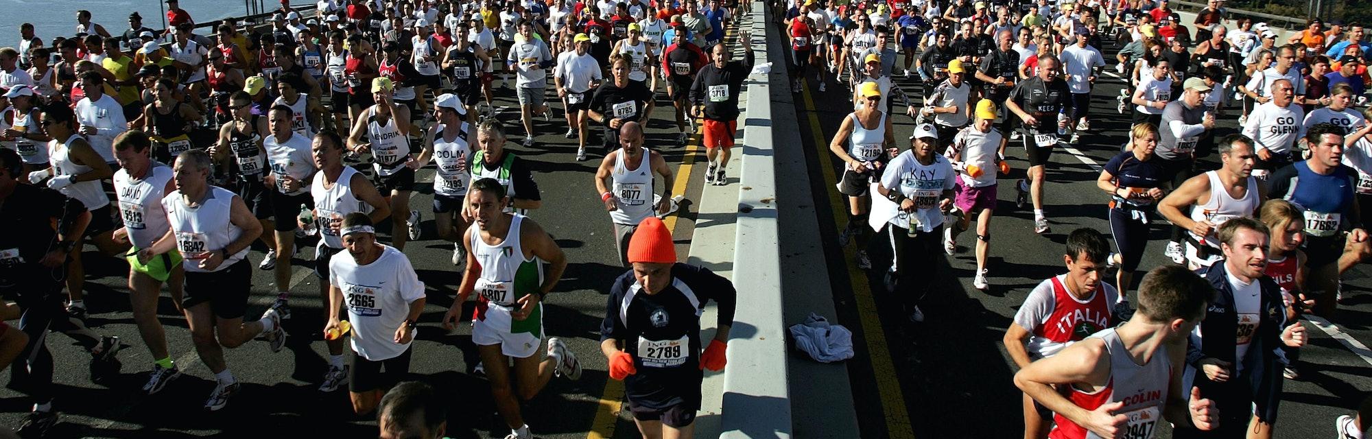 Runners stream over the Verrazano Narrows Bridge at the start of the New York City Marathon