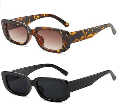 KUGUAOK Retro Rectangle Sunglasses (2-Pack)