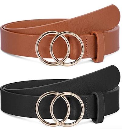 SANSTHS Faux Leather Belts (Set of 2)