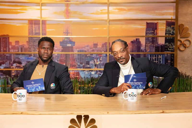 Kevin Hart and Snoop Dogg pose on the set of their 'Olympic Highlights' show on Peacock.