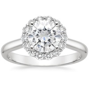 Moissanite Lotus Flower Lab Diamond Ring with Side Stones