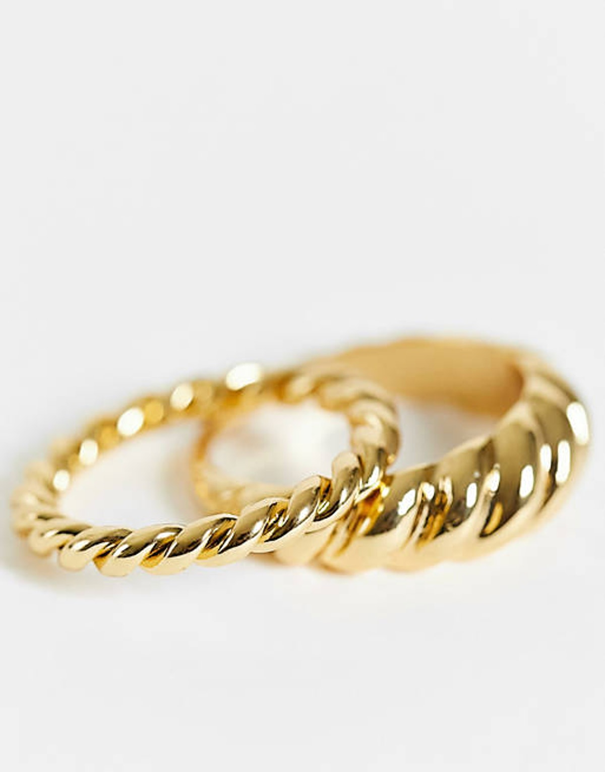 ASOS pack of 2 14k gold plated twist design rings