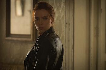 Scarlett Johansson turning around as Natasha Romanoff in Black Widow