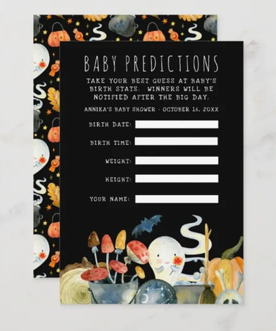 Halloween-themed baby shower guessing game card with ghost