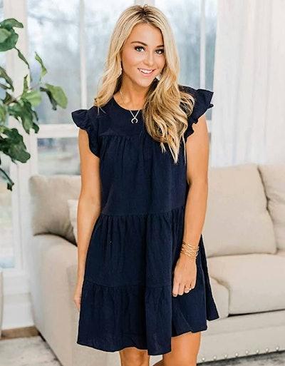 KIRUNDO Ruffle Sleeve Mini Dress