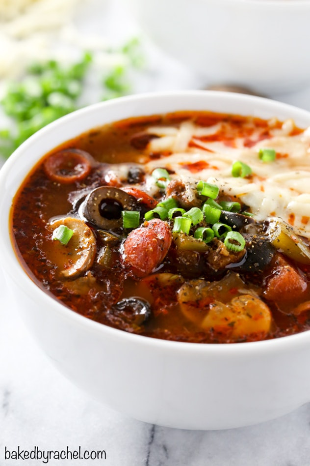 Pizza soup is a slow cooker recipe to make on school nights.